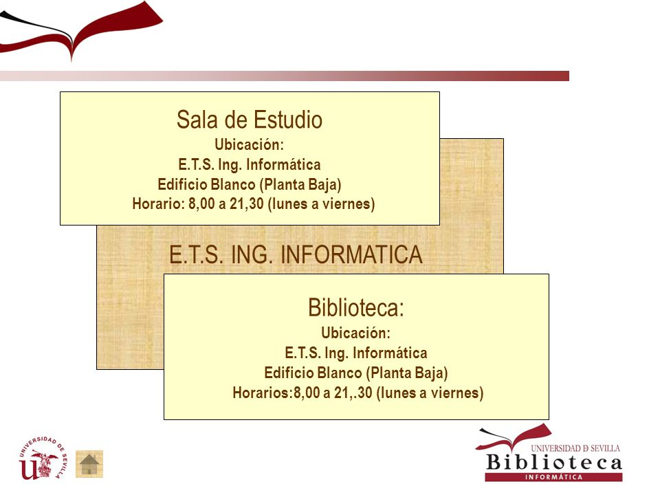 Sala de Estudio E.T.S. ING. INFORMATICA Biblioteca: Ubicación: