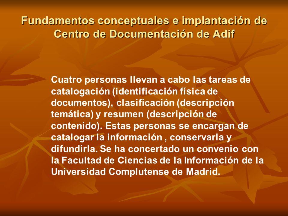 Fundamentos conceptuales e implantación de Centro de Documentación de Adif