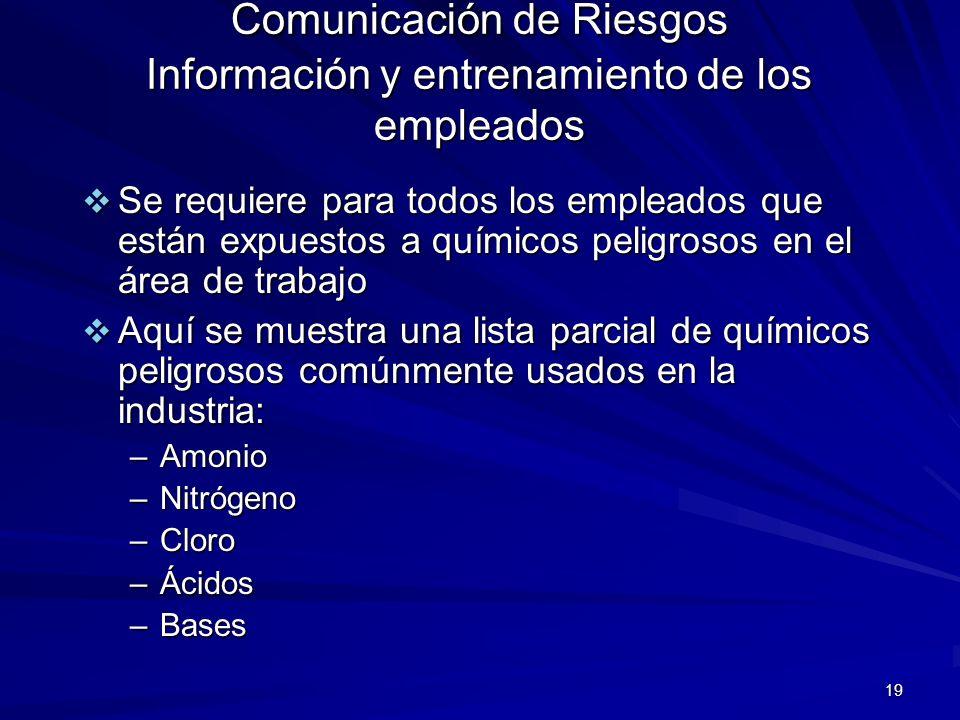 Comunicación de Riesgos Información y entrenamiento de los empleados