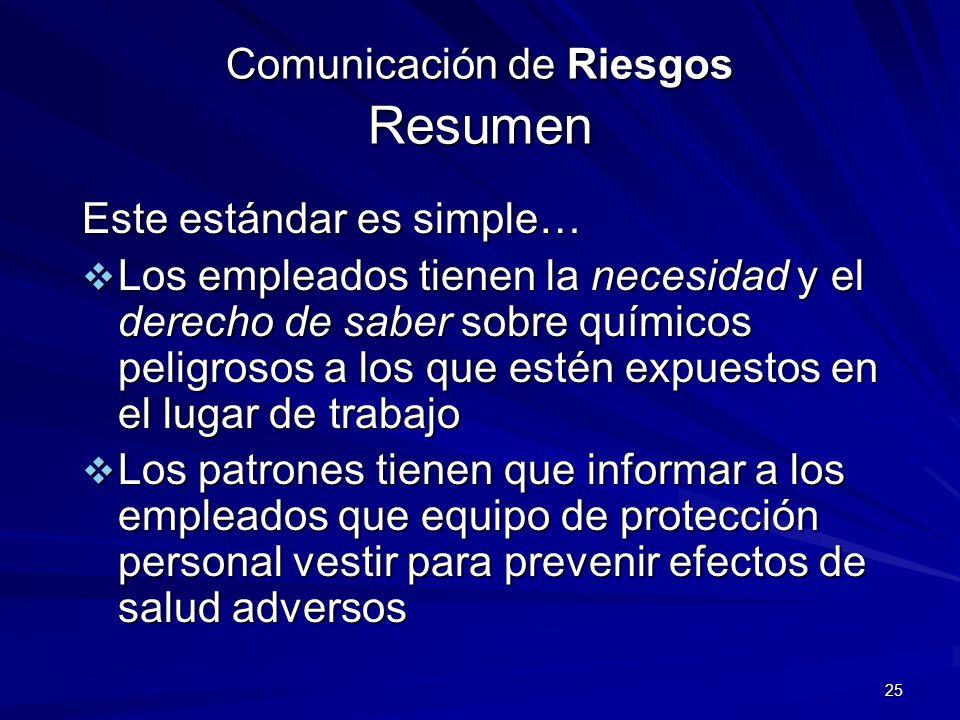 Comunicación de Riesgos Resumen