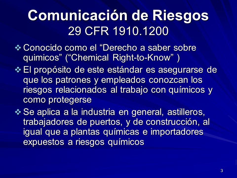 Comunicación de Riesgos 29 CFR 1910.1200