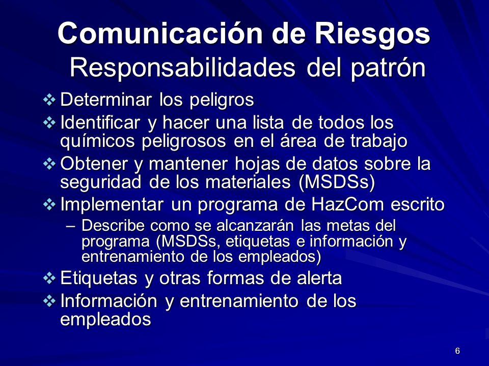 Comunicación de Riesgos Responsabilidades del patrón