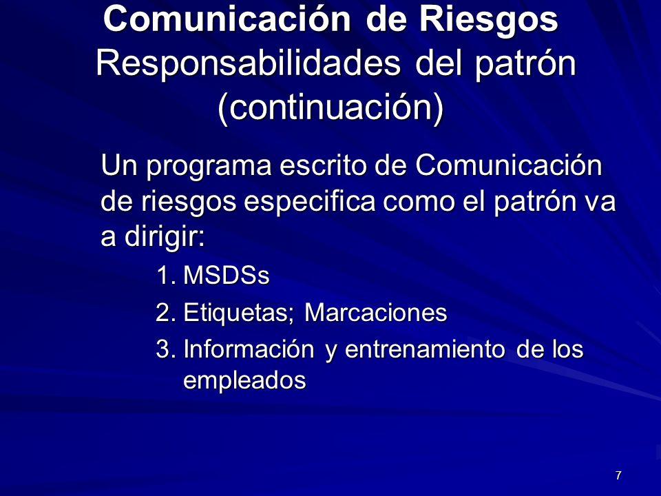 Comunicación de Riesgos Responsabilidades del patrón (continuación)