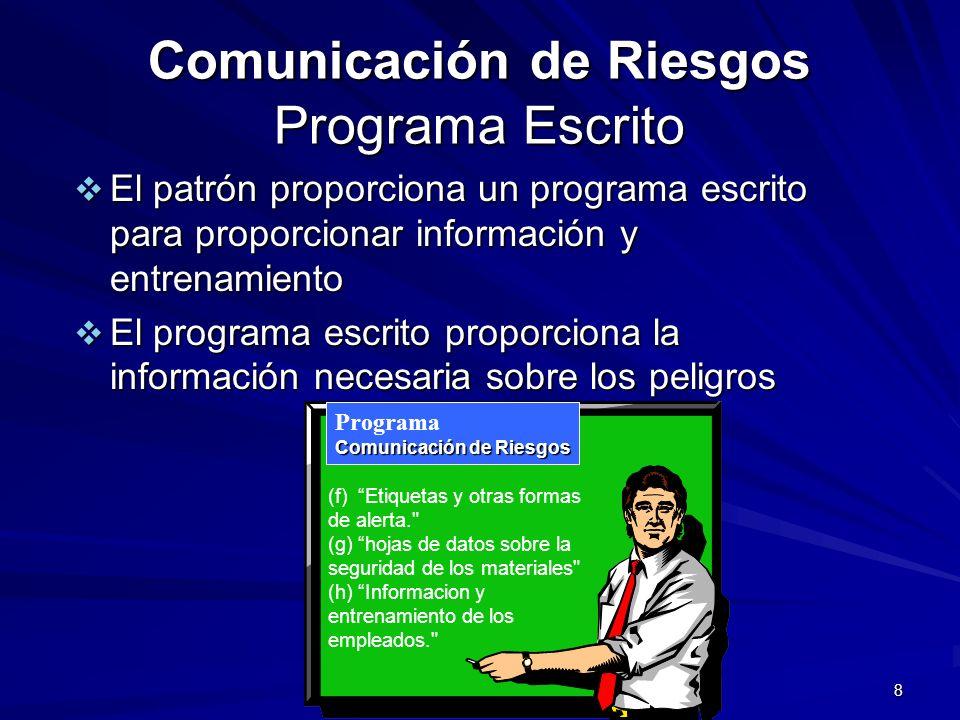 Comunicación de Riesgos Programa Escrito