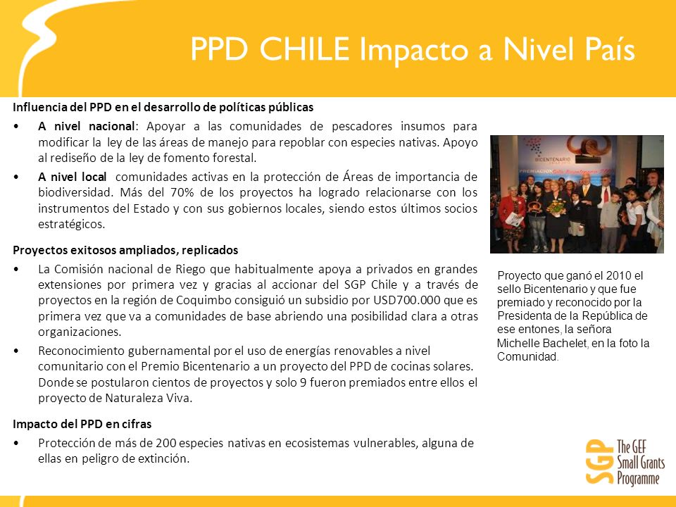 PPD CHILE Impacto a Nivel País