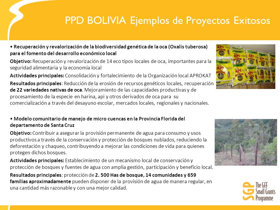 PPD BOLIVIA Ejemplos de Proyectos Exitosos