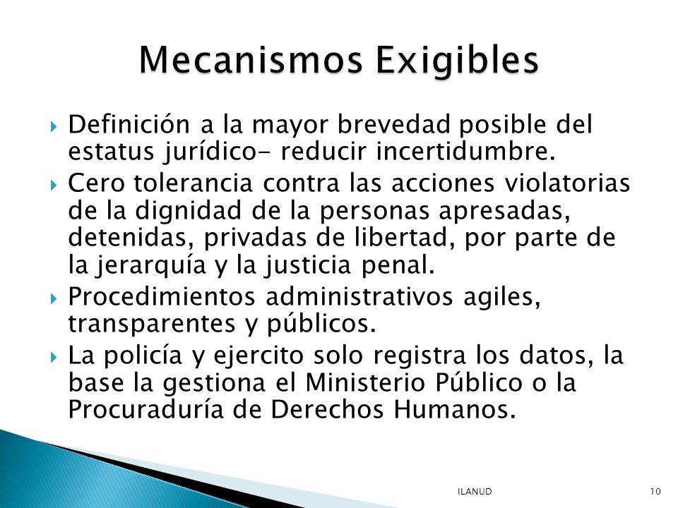 Mecanismos Exigibles Definición a la mayor brevedad posible del estatus jurídico- reducir incertidumbre.