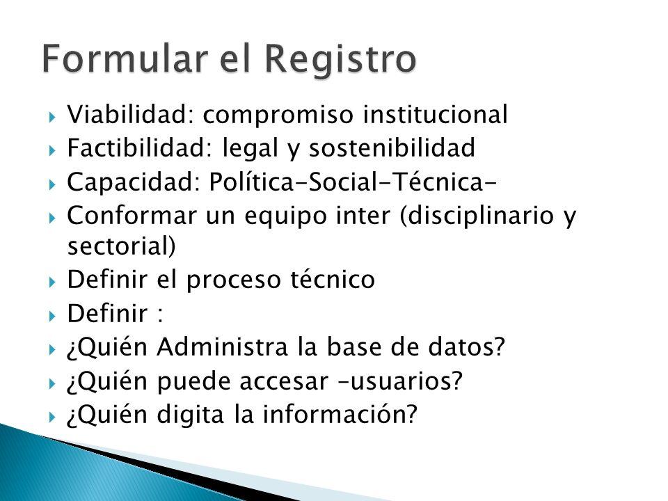 Formular el Registro Viabilidad: compromiso institucional