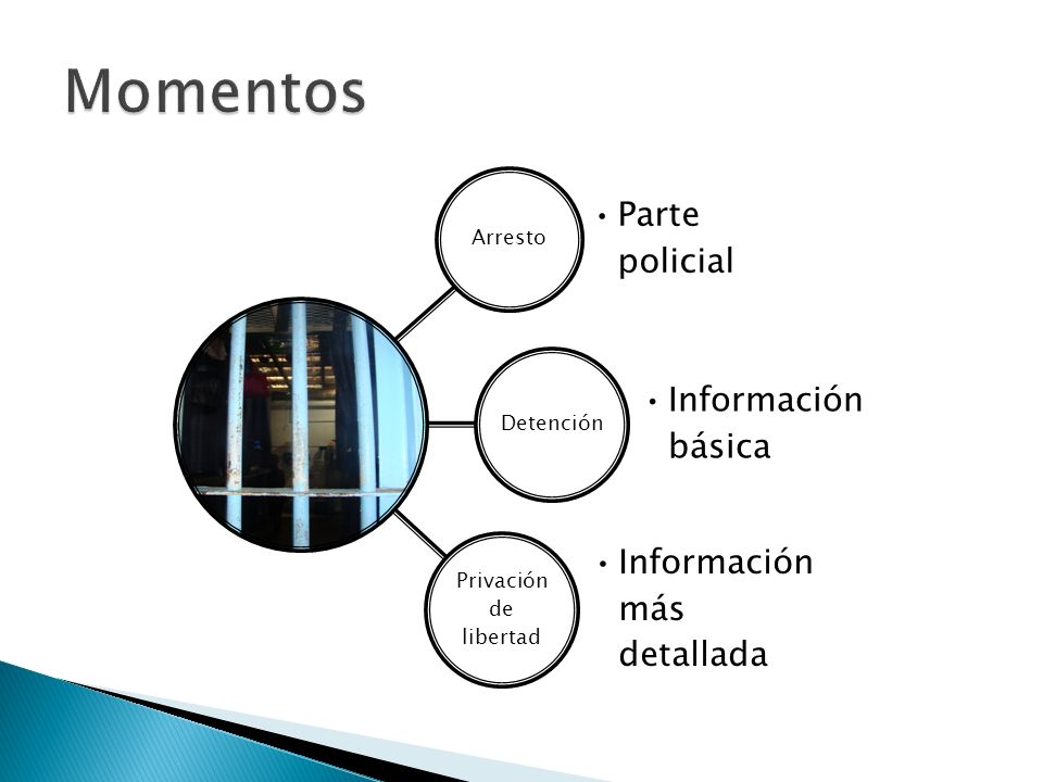 Momentos Arresto Parte policial Detención Información básica
