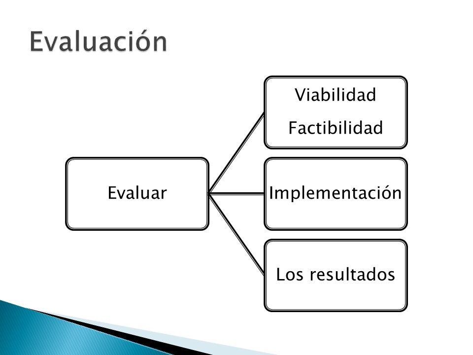 Evaluación Evaluar Factibilidad Viabilidad Implementación