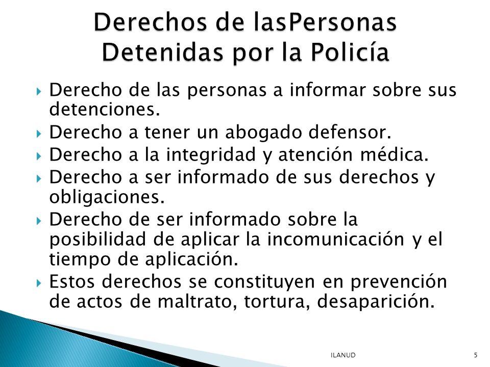 Derechos de lasPersonas Detenidas por la Policía