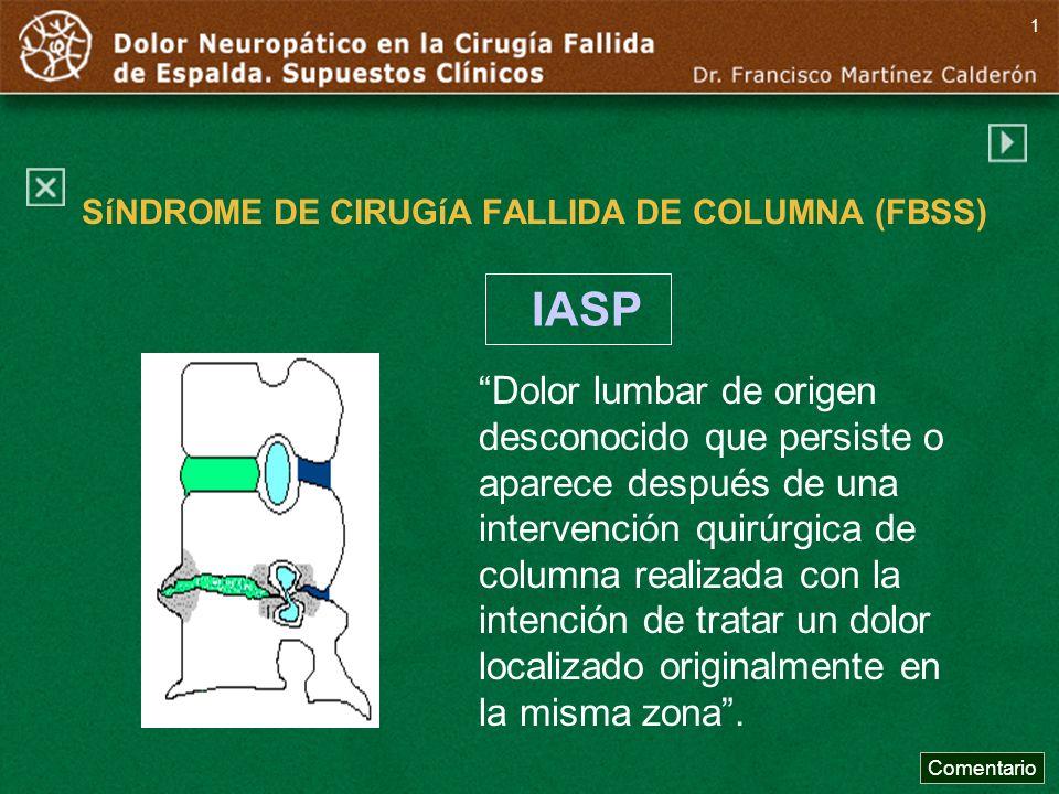 SíNDROME DE CIRUGíA FALLIDA DE COLUMNA (FBSS)