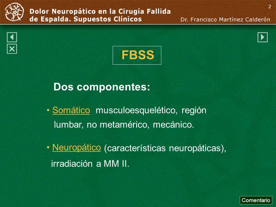 2FBSS. Dos componentes: Somático musculoesquelético, región lumbar, no metamérico, mecánico.