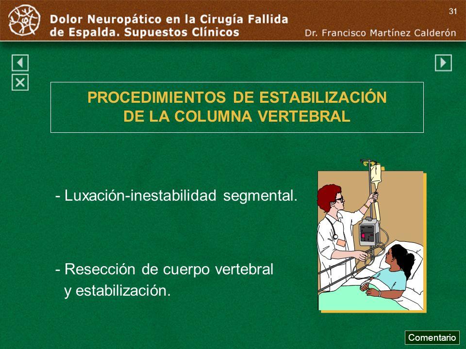 PROCEDIMIENTOS DE ESTABILIZACIÓN DE LA COLUMNA VERTEBRAL