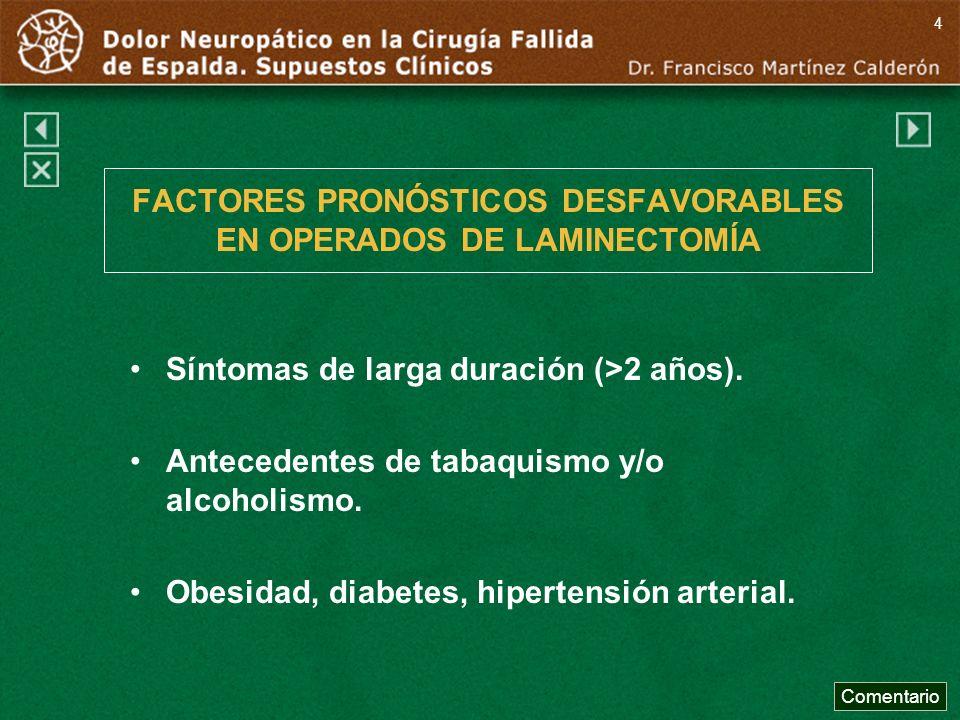 FACTORES PRONÓSTICOS DESFAVORABLES EN OPERADOS DE LAMINECTOMÍA