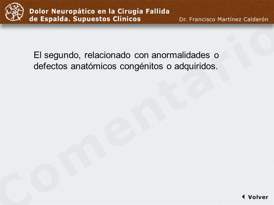 Comentario a diapo6El segundo, relacionado con anormalidades o defectos anatómicos congénitos o adquiridos.