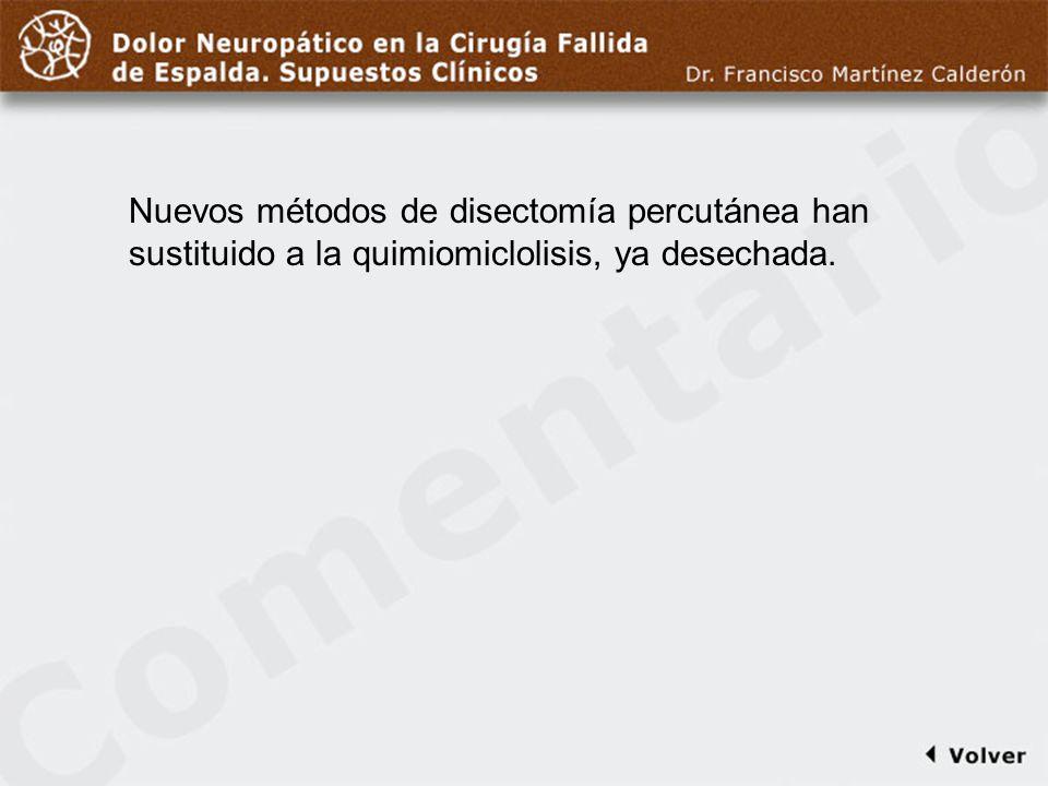 Comentario a diapo26Nuevos métodos de disectomía percutánea han sustituido a la quimiomiclolisis, ya desechada.