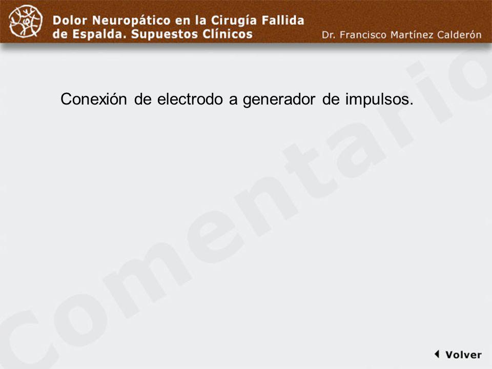 Comentario a diapo38 Conexión de electrodo a generador de impulsos.