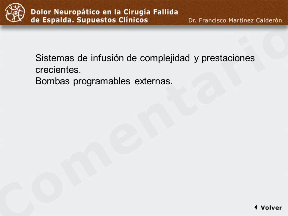 Comentario a diapo44 Sistemas de infusión de complejidad y prestaciones crecientes.
