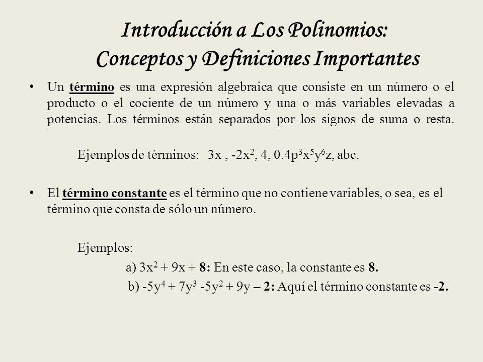 Introducción a Los Polinomios: Conceptos y Definiciones Importantes