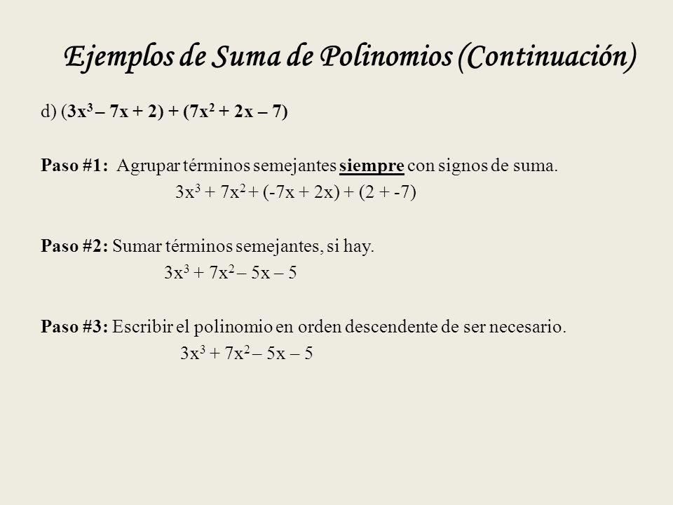 Ejemplos de Suma de Polinomios (Continuación)