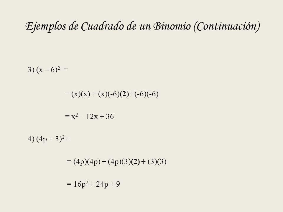 Ejemplos de Cuadrado de un Binomio (Continuación)