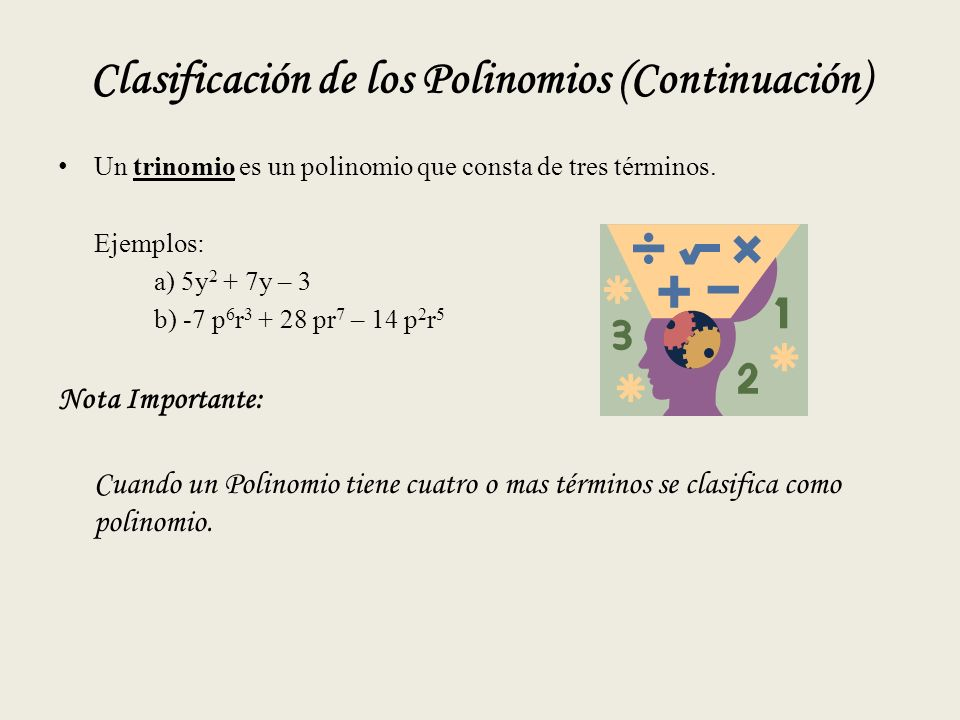 Clasificación de los Polinomios (Continuación)
