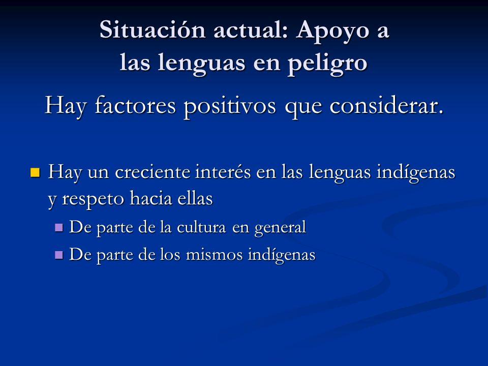 Situación actual: Apoyo a las lenguas en peligro