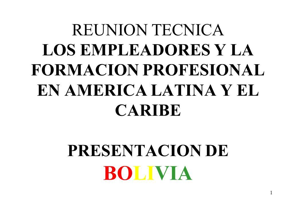 REUNION TECNICA LOS EMPLEADORES Y LA FORMACION PROFESIONAL EN AMERICA LATINA Y EL CARIBE PRESENTACION DE BOLIVIA