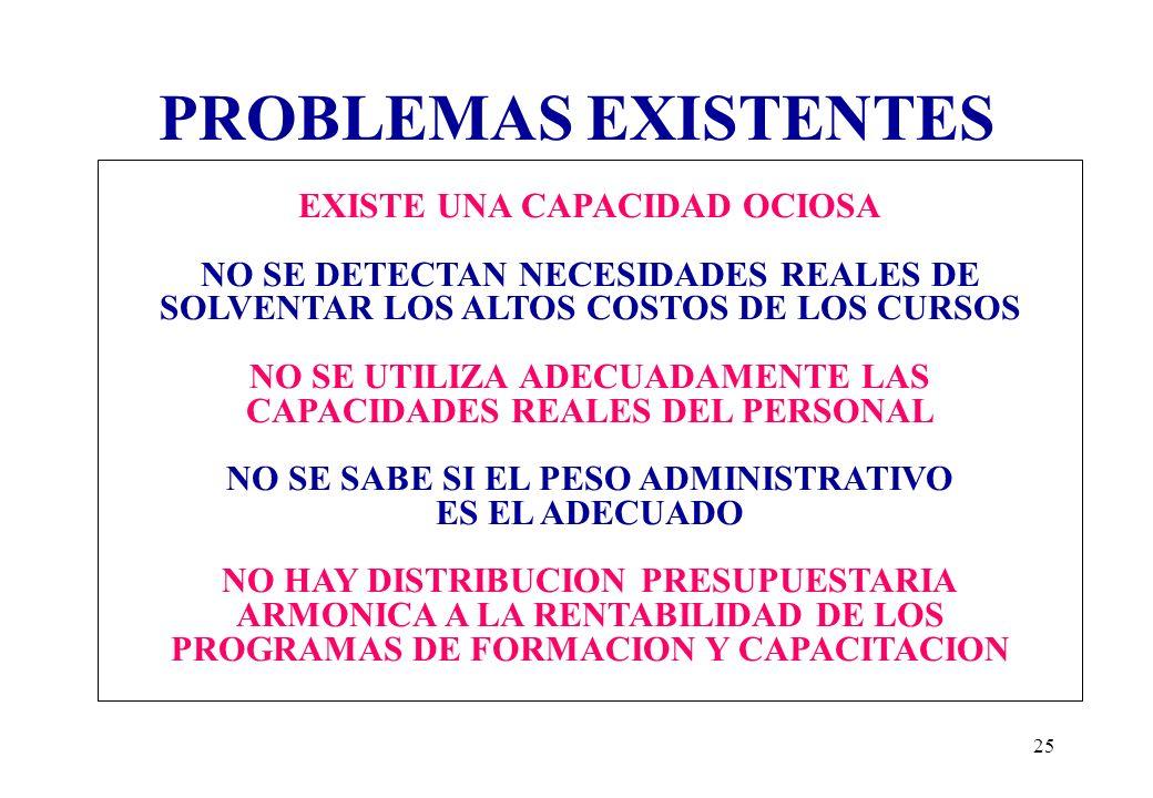PROBLEMAS EXISTENTES EXISTE UNA CAPACIDAD OCIOSA