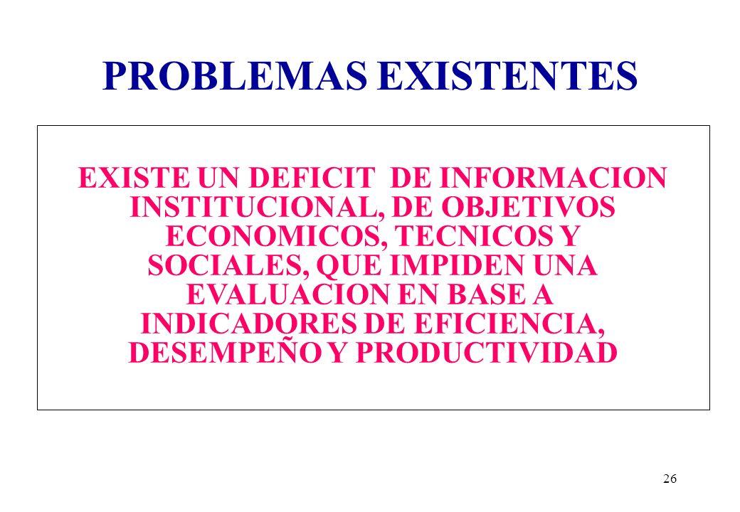 PROBLEMAS EXISTENTES EXISTE UN DEFICIT DE INFORMACION