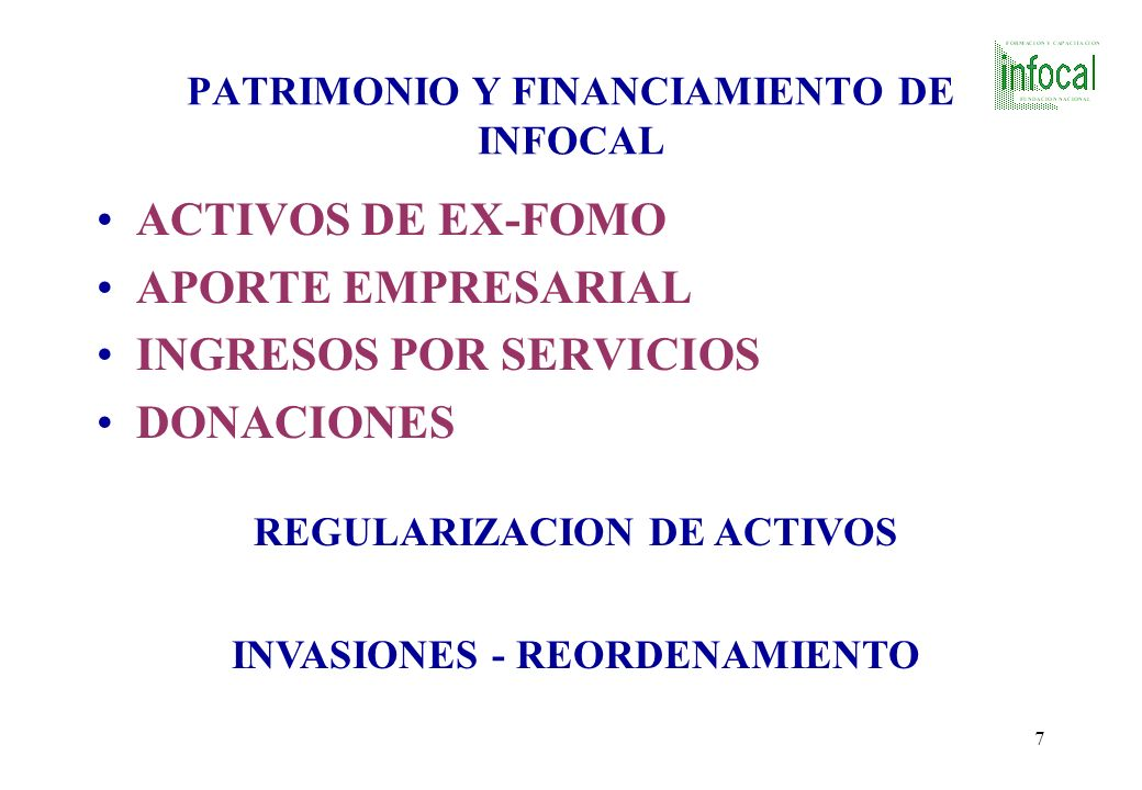 PATRIMONIO Y FINANCIAMIENTO DE INFOCAL