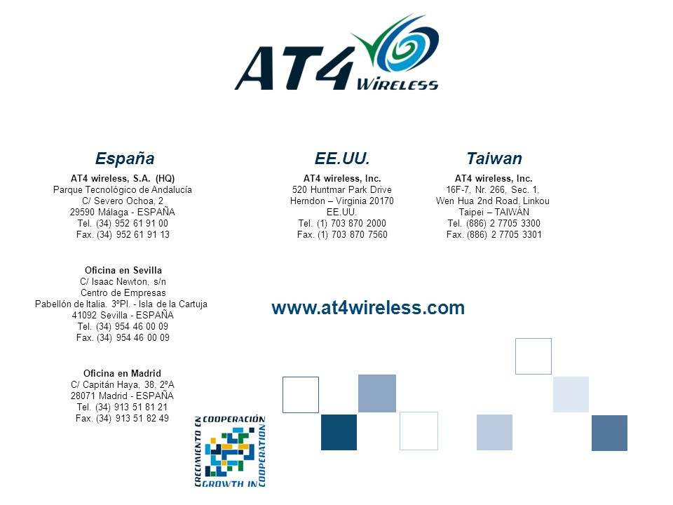 www.at4wireless.com España EE.UU. Taiwan Oficina en Madrid