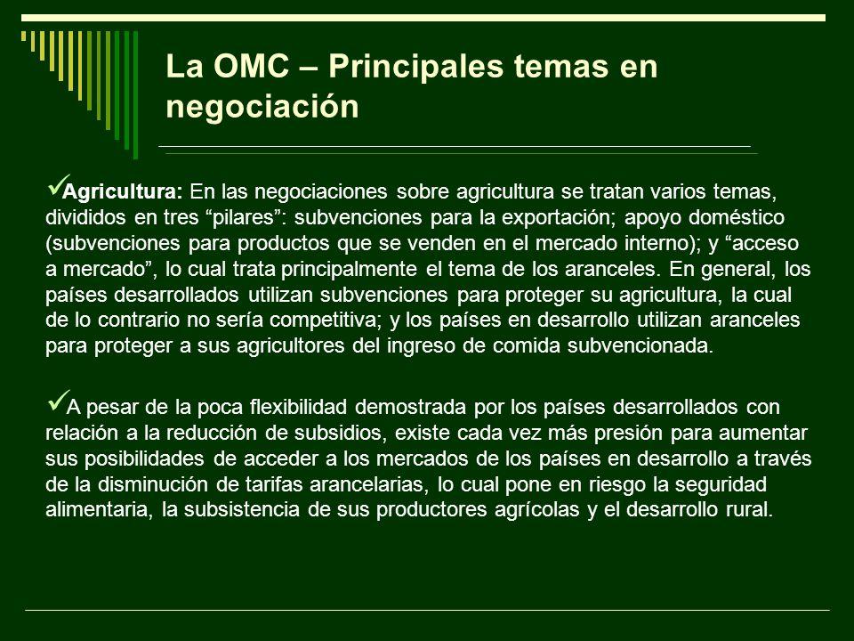 La OMC – Principales temas en negociación