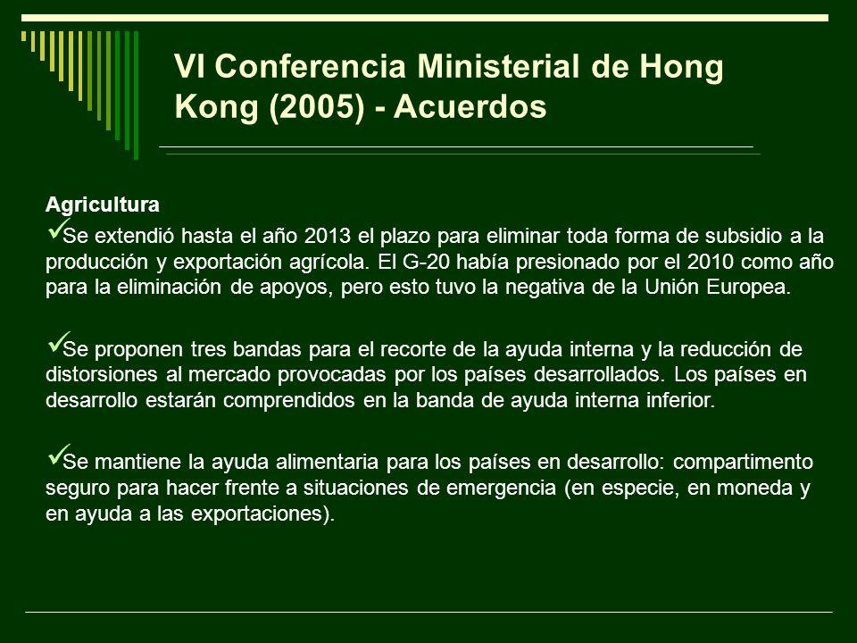 VI Conferencia Ministerial de Hong Kong (2005) - Acuerdos