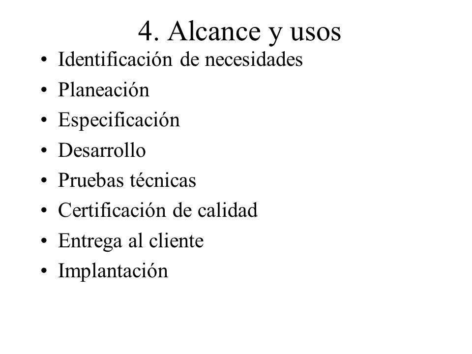 4. Alcance y usos Identificación de necesidades Planeación