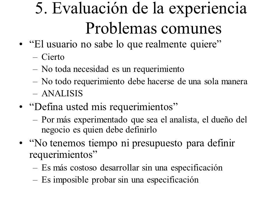 5. Evaluación de la experiencia Problemas comunes