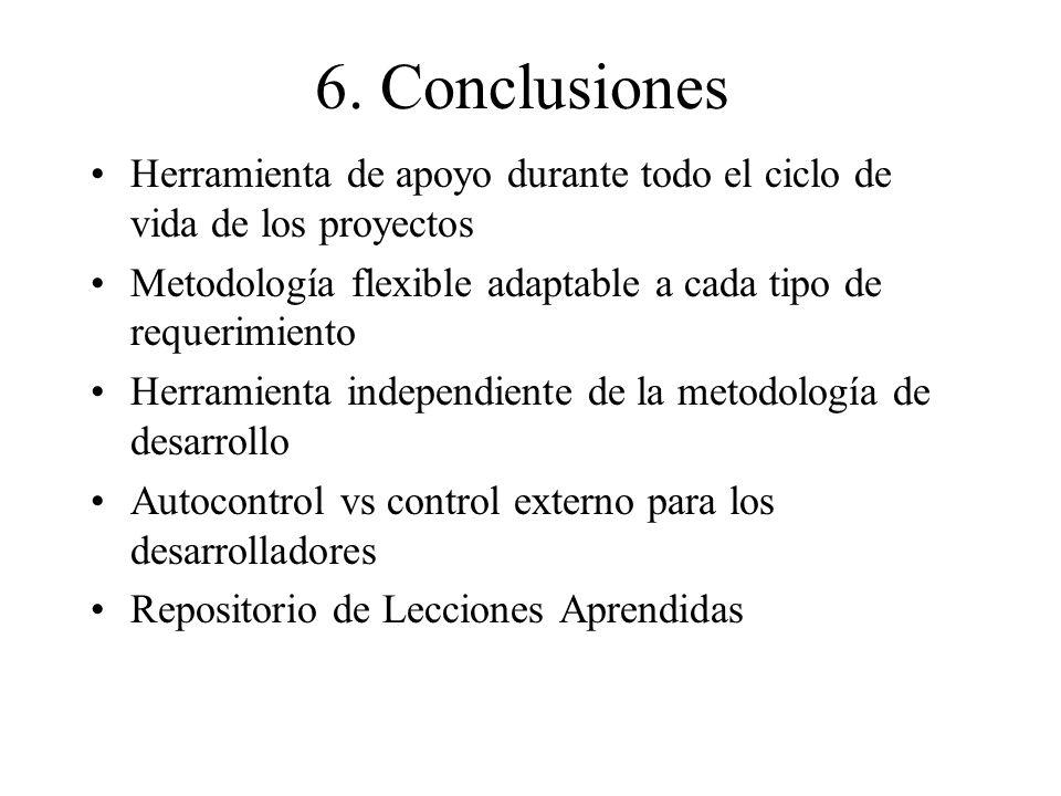 6. Conclusiones Herramienta de apoyo durante todo el ciclo de vida de los proyectos. Metodología flexible adaptable a cada tipo de requerimiento.