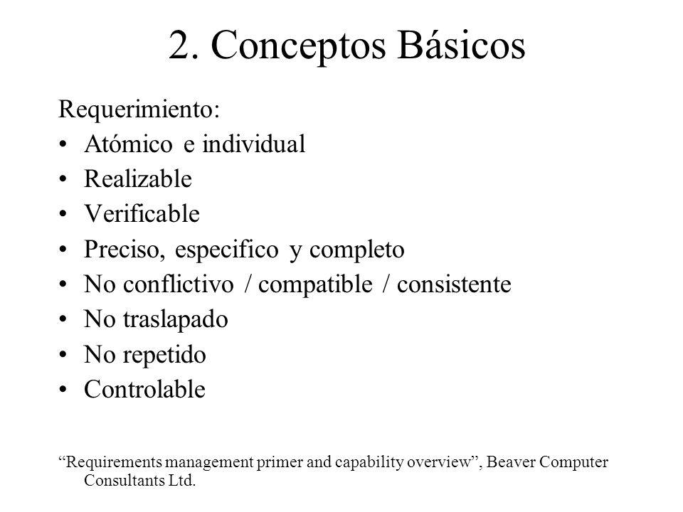 2. Conceptos Básicos Requerimiento: Atómico e individual Realizable