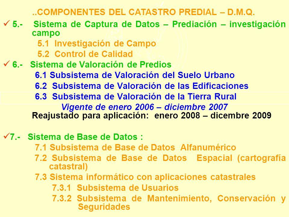 ..COMPONENTES DEL CATASTRO PREDIAL – D.M.Q.