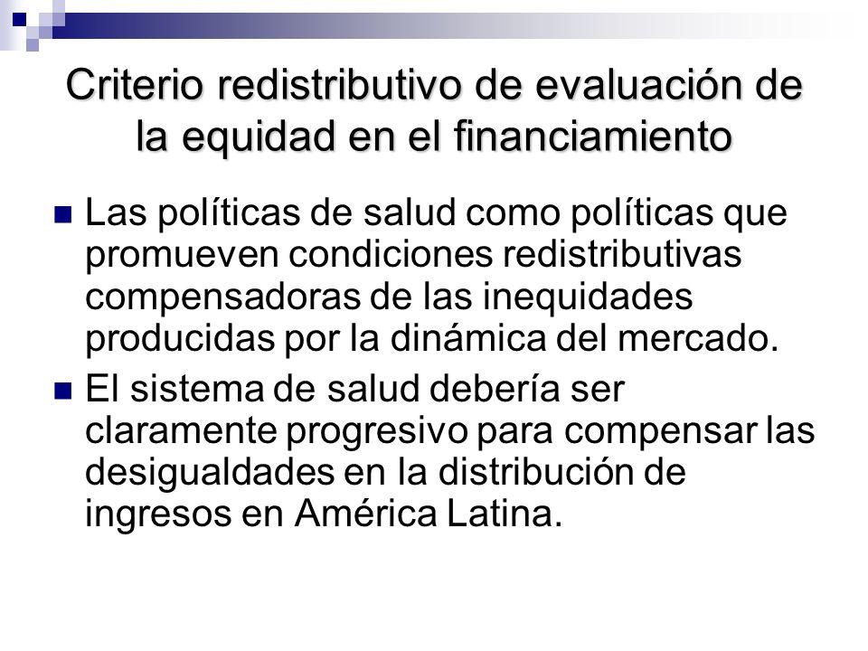 Criterio redistributivo de evaluación de la equidad en el financiamiento