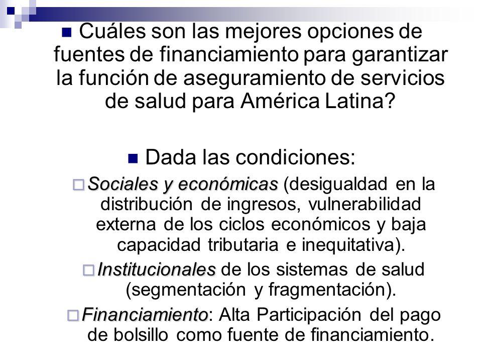 Cuáles son las mejores opciones de fuentes de financiamiento para garantizar la función de aseguramiento de servicios de salud para América Latina