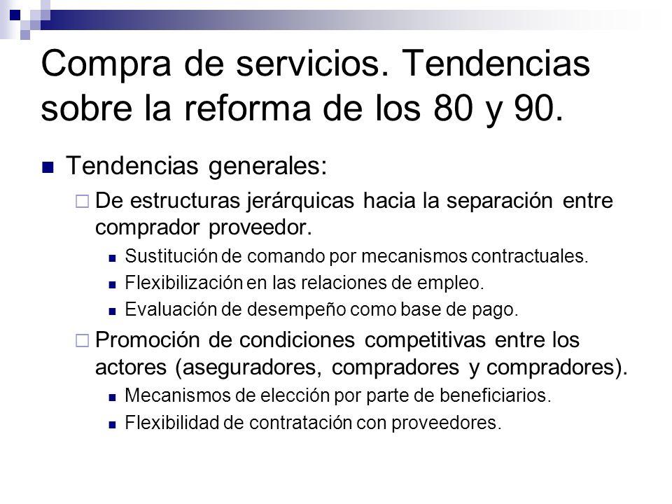 Compra de servicios. Tendencias sobre la reforma de los 80 y 90.