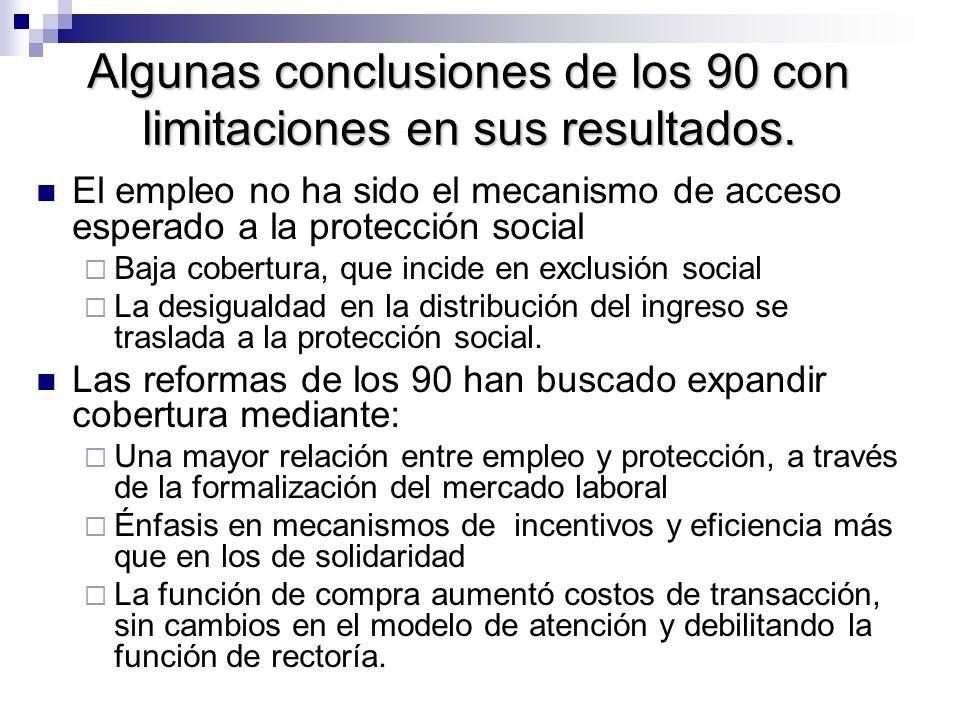 Algunas conclusiones de los 90 con limitaciones en sus resultados.
