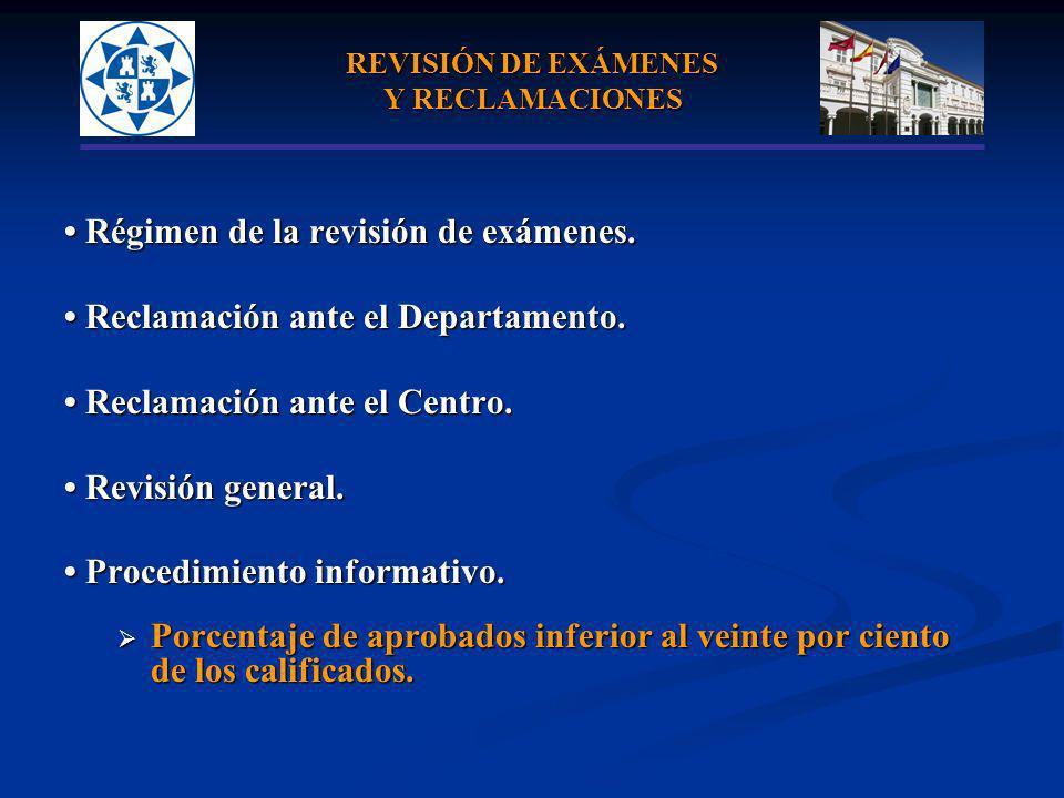 REVISIÓN DE EXÁMENES Y RECLAMACIONES