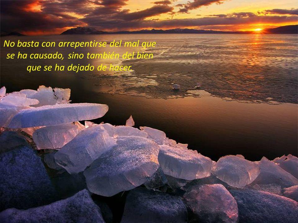 No basta con arrepentirse del mal que se ha causado, sino también del bien que se ha dejado de hacer.