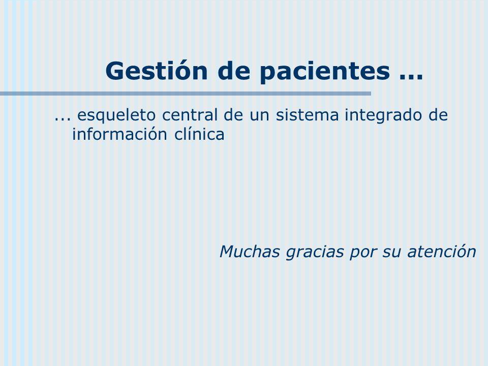 Gestión de pacientes ... ... esqueleto central de un sistema integrado de información clínica.