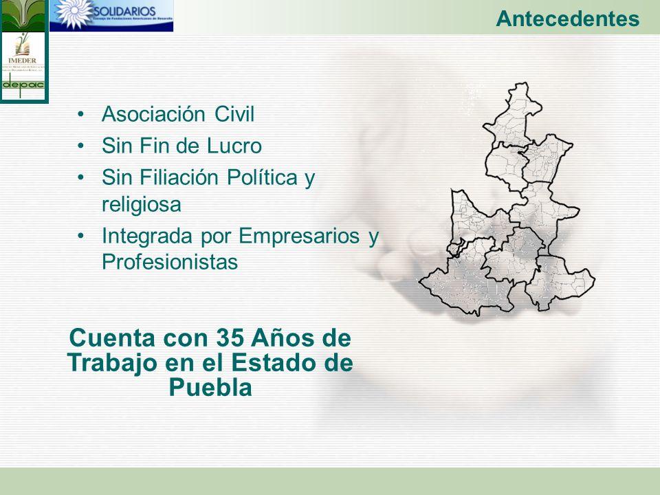 Cuenta con 35 Años de Trabajo en el Estado de Puebla
