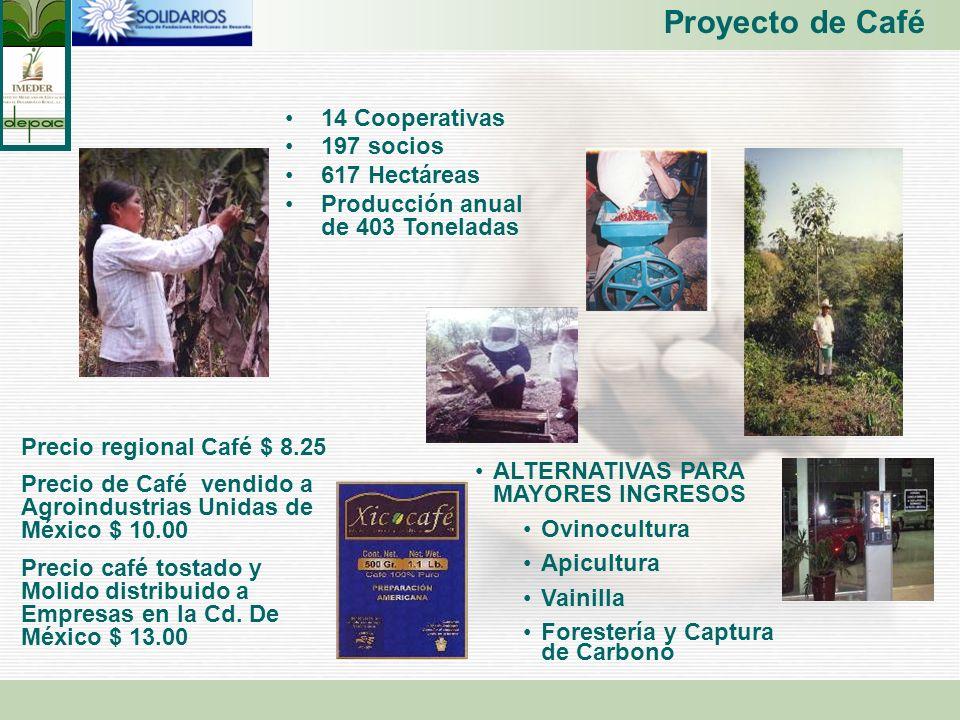 Proyecto de Café 14 Cooperativas 197 socios 617 Hectáreas