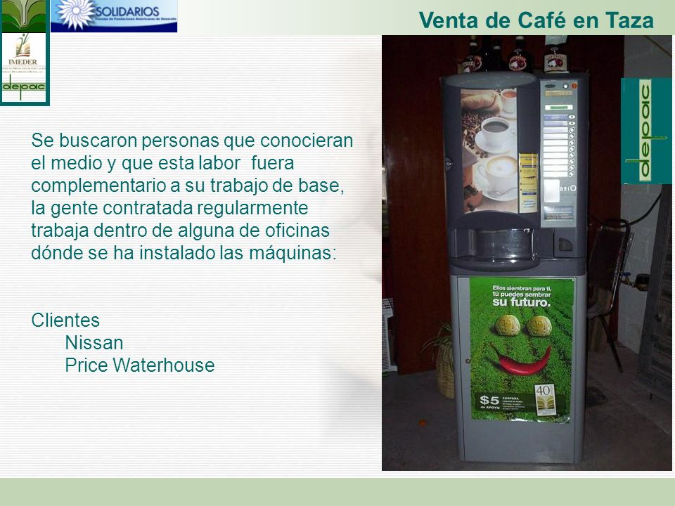Venta de Café en Taza